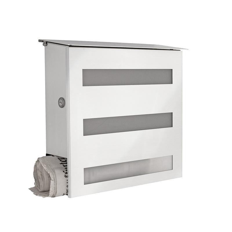briefkasten aus edelstahl mit acrylglasscheibe zeitungsfach namensschild inklusive wohnlicht. Black Bedroom Furniture Sets. Home Design Ideas