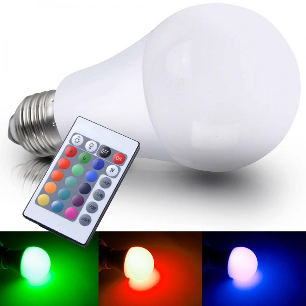 7 5 watt led leuchtmittel a60 e27 rgb mit fernbedienung wohnlicht. Black Bedroom Furniture Sets. Home Design Ideas