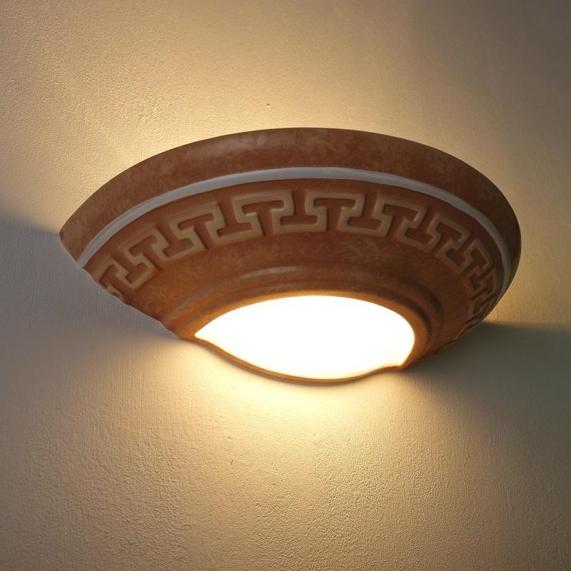 antikstil gipswandleuchte in terracotta mit zweifachem lichtaustritt nach oben und unten. Black Bedroom Furniture Sets. Home Design Ideas