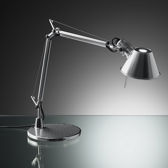 artemide tolomeo micro led in aluminium mit dimmer wohnlicht. Black Bedroom Furniture Sets. Home Design Ideas