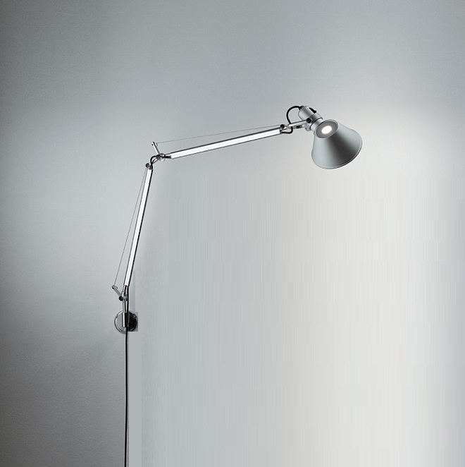 artemide tolomeo mini led parete in aluminum mit dimmer wohnlicht. Black Bedroom Furniture Sets. Home Design Ideas