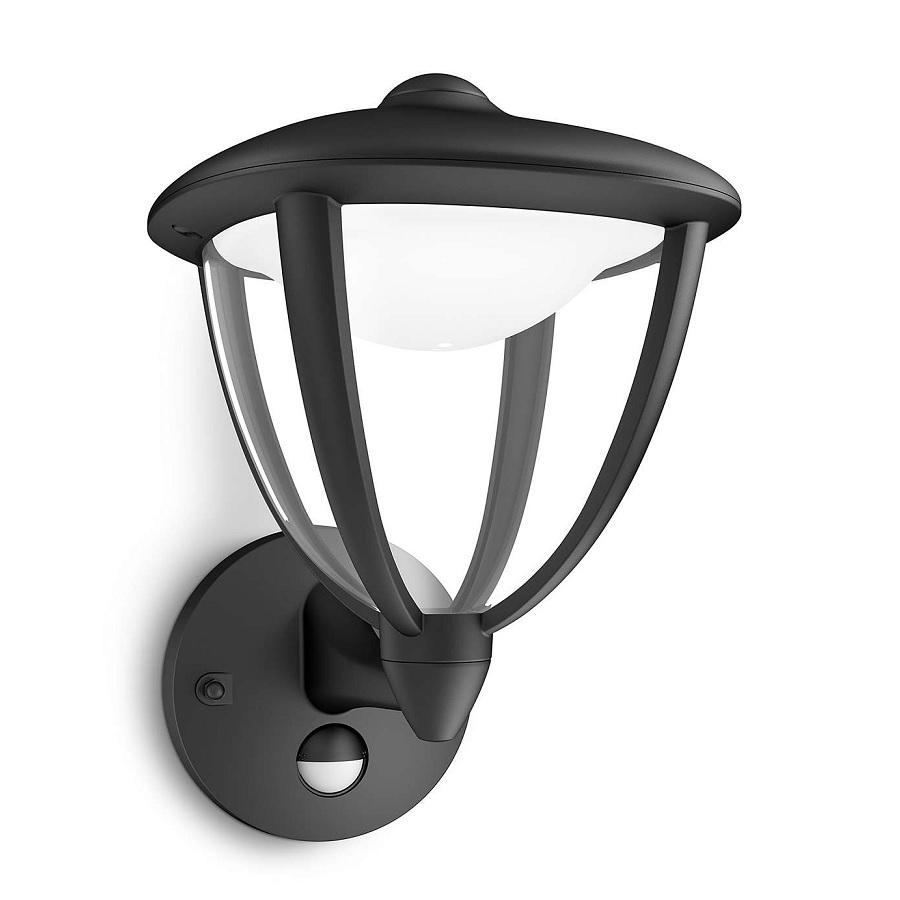 au enwandleuchte mit bewegungsmelder in schwarz wohnlicht. Black Bedroom Furniture Sets. Home Design Ideas