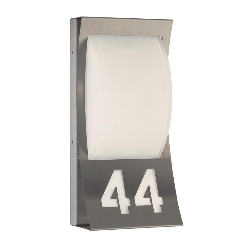 aussenleuchte hausnummer aus edelstahl und opalglas wohnlicht. Black Bedroom Furniture Sets. Home Design Ideas