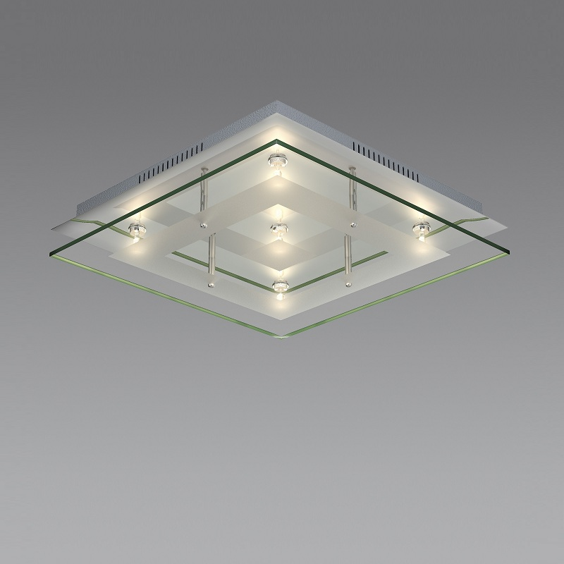 badezimmerleuchte verchromt mit teilsatiniertem glas inklusive 5x 20w g4 wohnlicht. Black Bedroom Furniture Sets. Home Design Ideas
