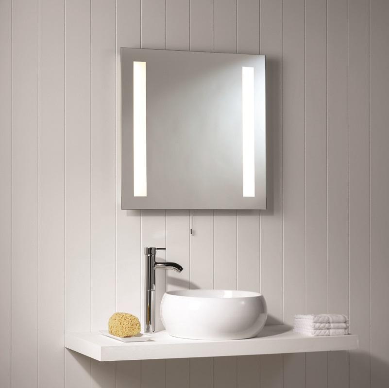 beleuchteter spiegel mit zugschalter 60 x 60cm wohnlicht. Black Bedroom Furniture Sets. Home Design Ideas