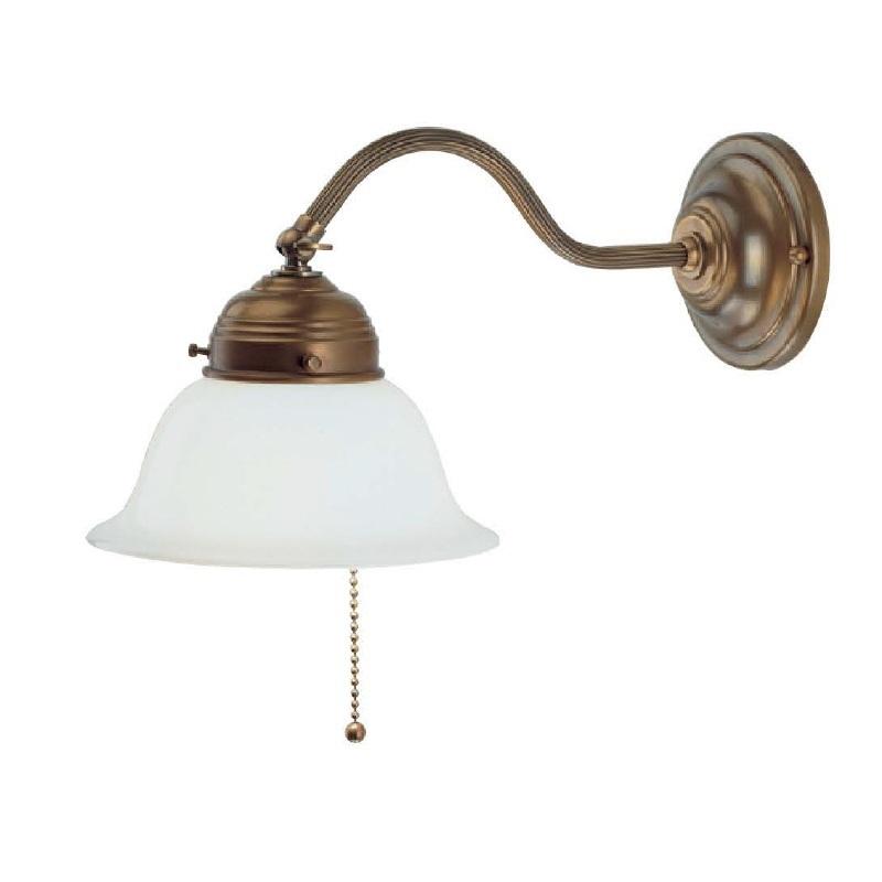 berliner messing wandleuchte mit zugschalter und opalglas 16cm wohnlicht. Black Bedroom Furniture Sets. Home Design Ideas
