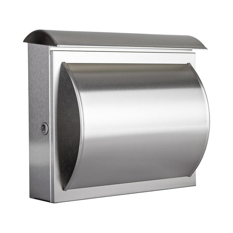 briefkasten aus v2a edelstahl mit integriertem zeitungsfach wohnlicht. Black Bedroom Furniture Sets. Home Design Ideas
