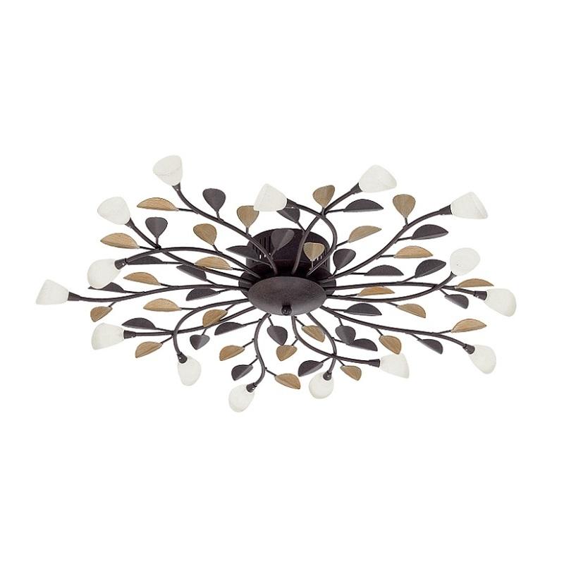 deckenleuchte 15 flg antik braun gold glas gekalkt wei wohnlicht. Black Bedroom Furniture Sets. Home Design Ideas