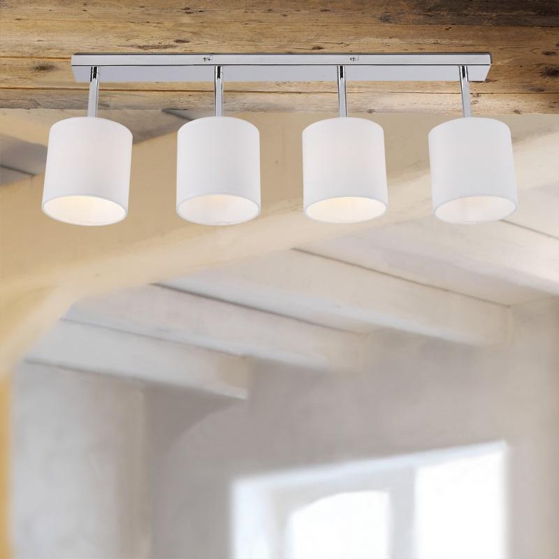 deckenleuchte 4 flammig mit stoffschirmen in wei wohnlicht. Black Bedroom Furniture Sets. Home Design Ideas