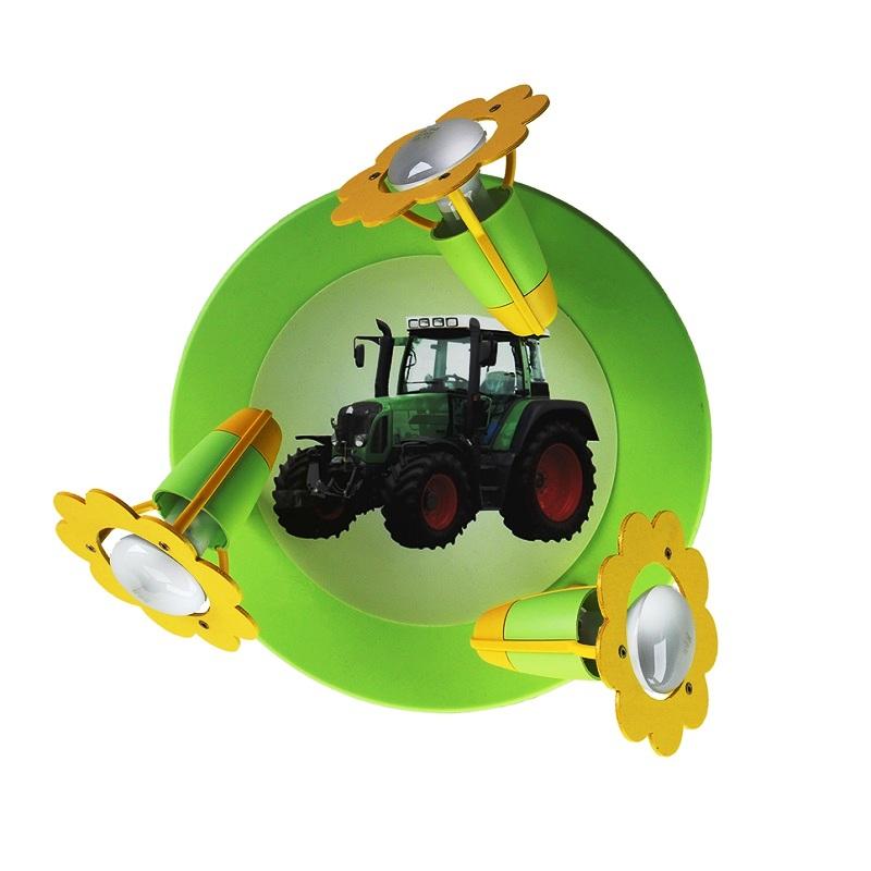 deckenleuchte f r das kinderzimmer mit traktor in gr n und schwarz wohnlicht. Black Bedroom Furniture Sets. Home Design Ideas