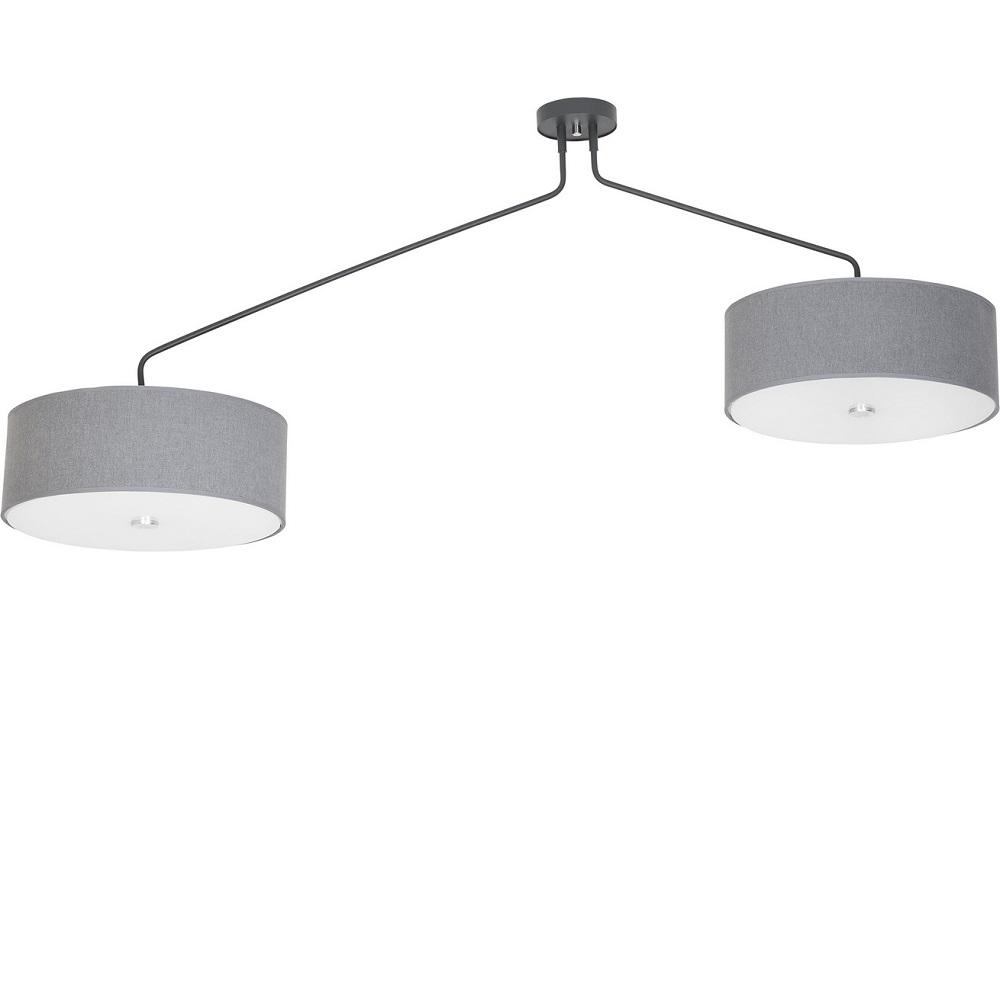 deckenleuchte hawk gray 2 flammig mit stoffschirm in grau wohnlicht. Black Bedroom Furniture Sets. Home Design Ideas