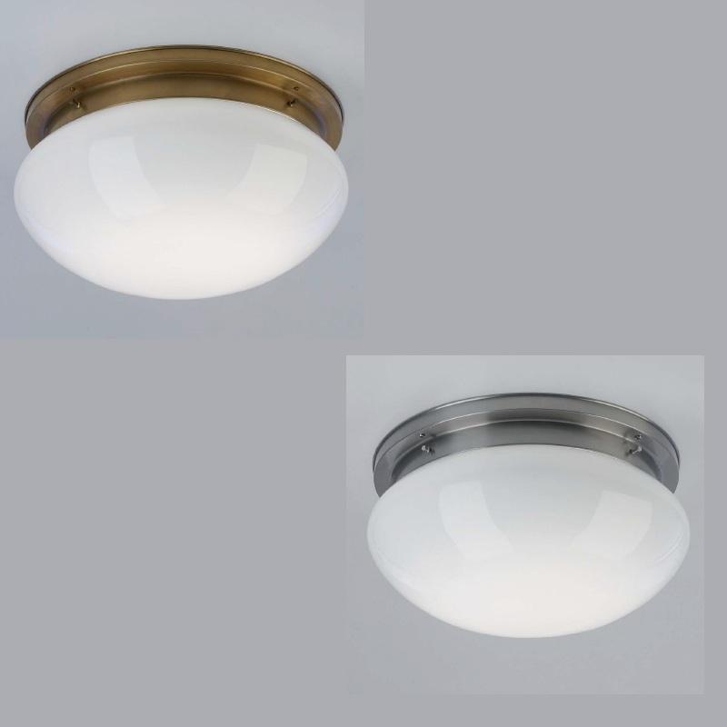 deckenleuchte mit opalglas 41 cm in nickel matt oder berliner messing wohnlicht. Black Bedroom Furniture Sets. Home Design Ideas
