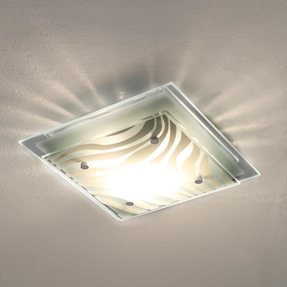 Deckenleuchte mit spiegelrand in chrom 24 x 24cm wohnlicht - Flurlampen modern ...