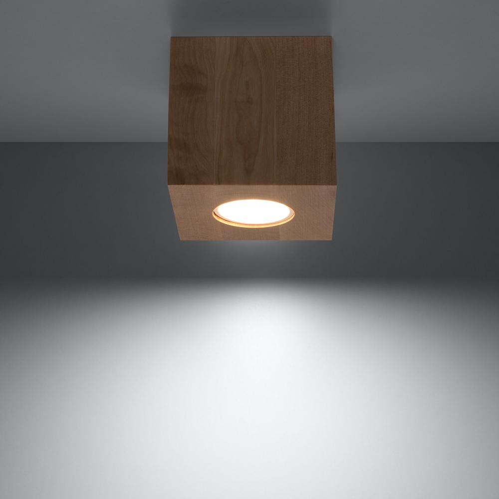 deckenleuchte quad holz mit led leuchtmittel wohnlicht. Black Bedroom Furniture Sets. Home Design Ideas