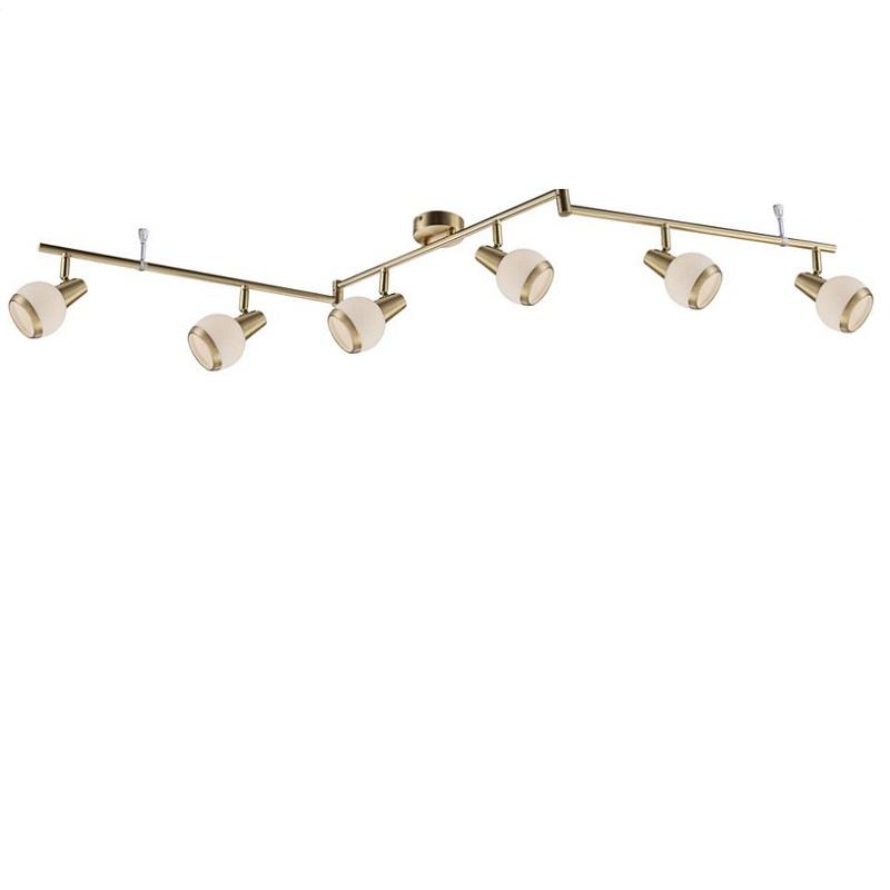 deckenstrahler in messing matt inklusive led leuchtmittel 6x e14 3watt warmwei es licht. Black Bedroom Furniture Sets. Home Design Ideas