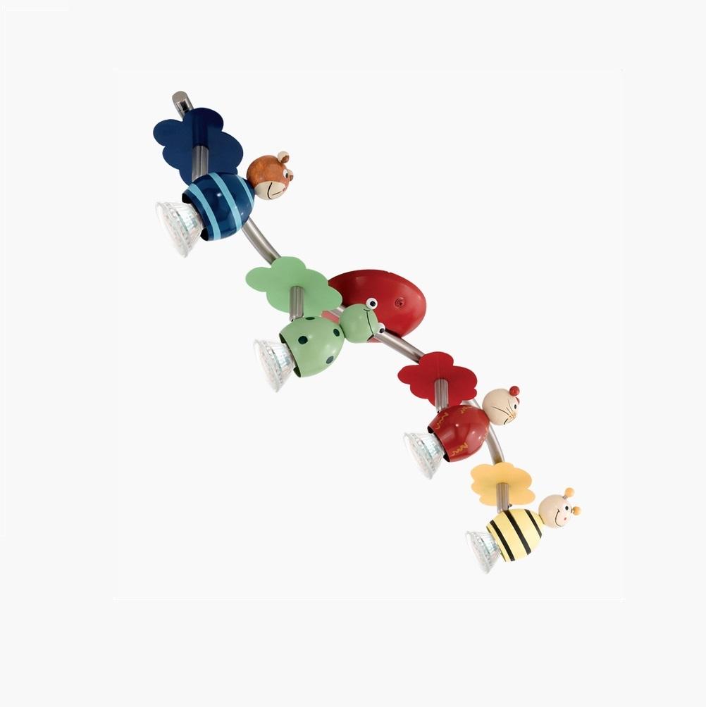 Deckenstrahler 4 bewegliche spots farbig wohnlicht for Deckenleuchten farbig