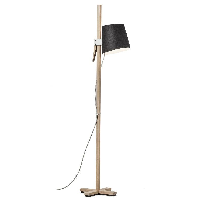 design standleuchte mit schirm aus wollfilz graphit wollwei grafit wei wohnlicht. Black Bedroom Furniture Sets. Home Design Ideas