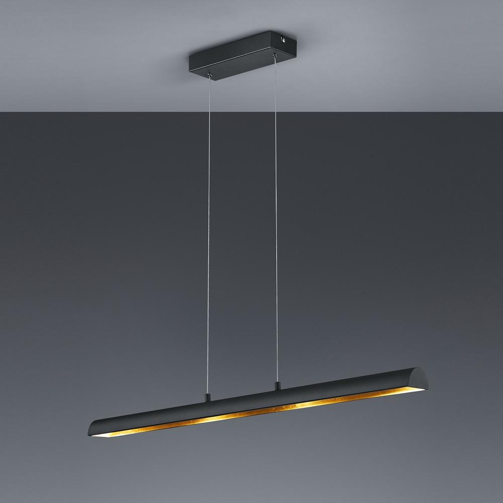 dimmbare led pendelleuchte romino 100 cm schwarz gold wohnlicht. Black Bedroom Furniture Sets. Home Design Ideas