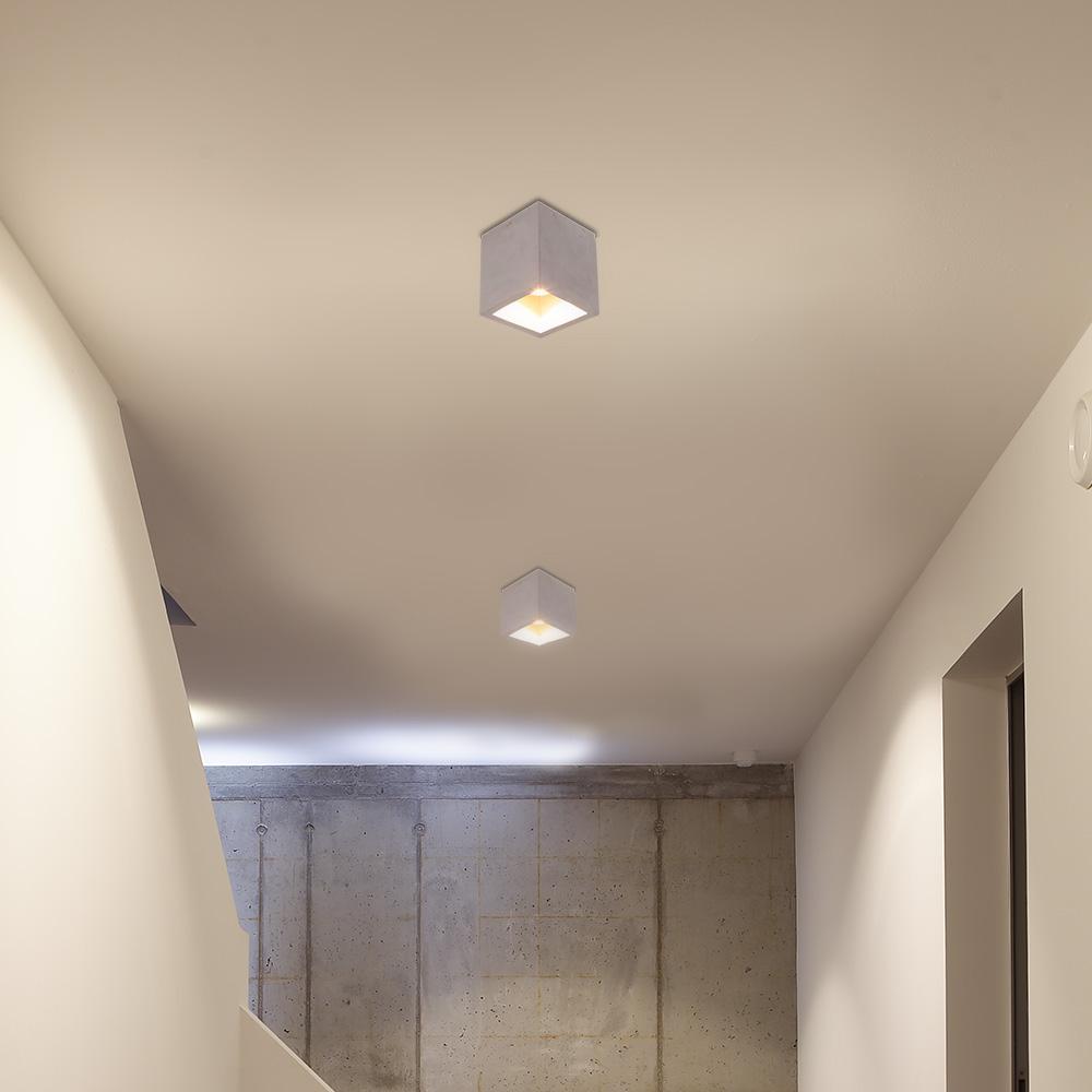 down light deckenleuchte cube aus beton wohnlicht. Black Bedroom Furniture Sets. Home Design Ideas