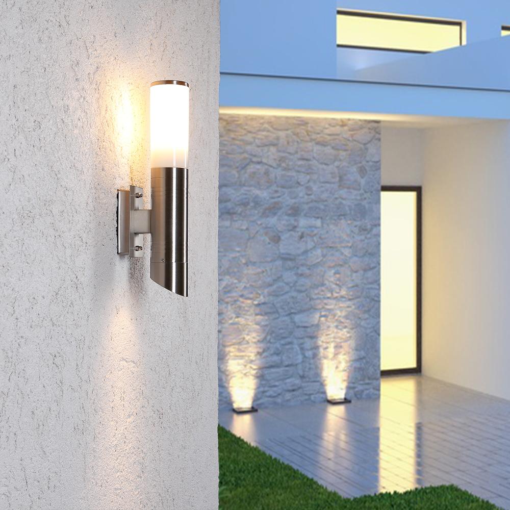 edelstahl aussenwandleuchte mit unter und oberlicht wohnlicht. Black Bedroom Furniture Sets. Home Design Ideas
