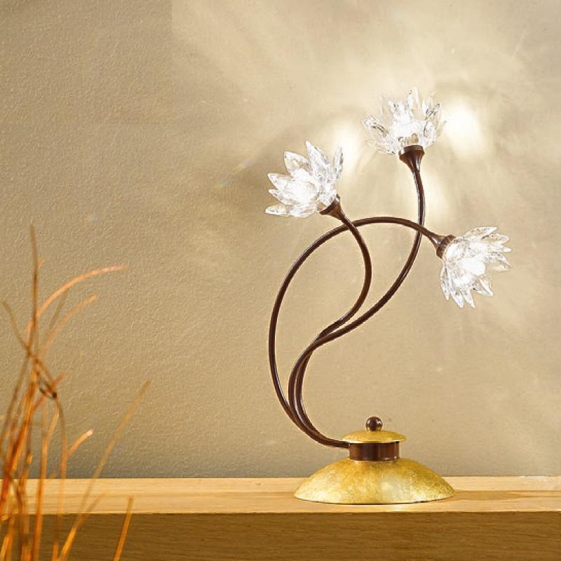 exclusive tischleuchte mit klaren kristallbl ten und blattfolienvergoldung wohnlicht. Black Bedroom Furniture Sets. Home Design Ideas