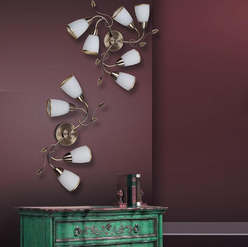 florale leuchte f r die wand oder decke bronze in zwei gr en w hlbar wohnlicht. Black Bedroom Furniture Sets. Home Design Ideas