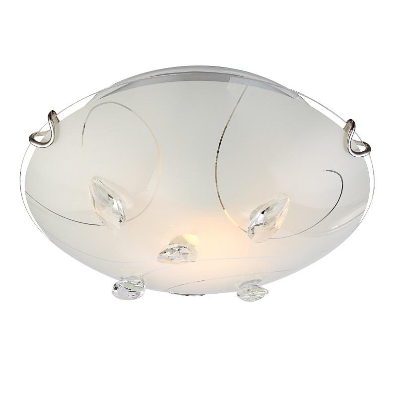 glanzvolle 1 flammige deckenleuchte aus opalglas mit musterungen und klaren kristallen 25cm. Black Bedroom Furniture Sets. Home Design Ideas