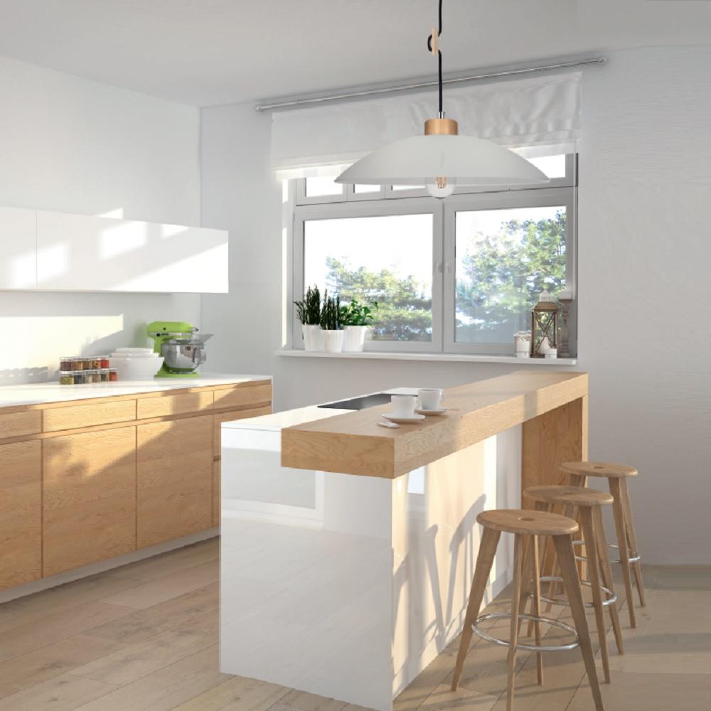 h henverstellbare pendelleuchte mit buche holz glas textil kabel wohnlicht. Black Bedroom Furniture Sets. Home Design Ideas