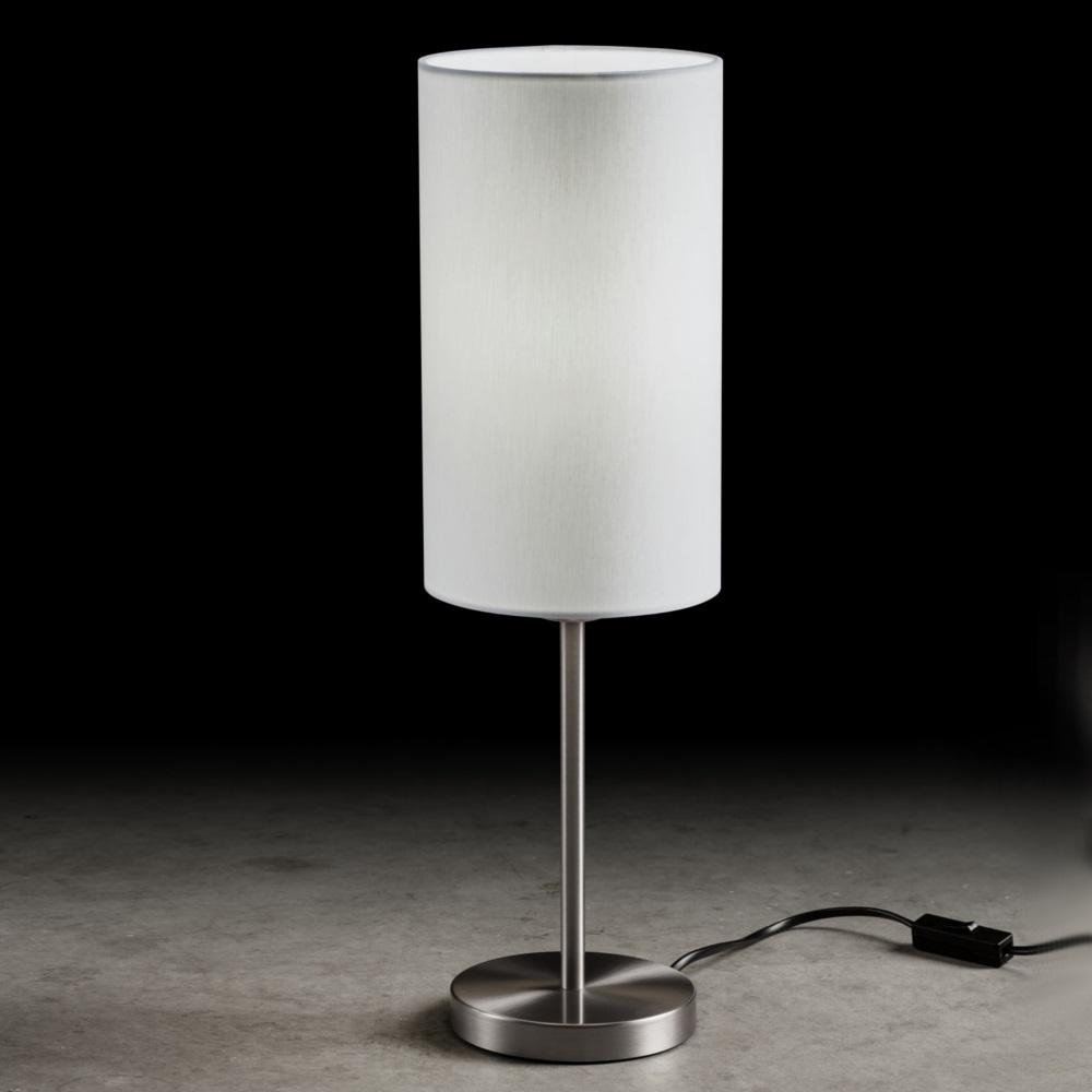 holtk tter tischleuchte nickel matt mit stoffschirm wei wohnlicht. Black Bedroom Furniture Sets. Home Design Ideas
