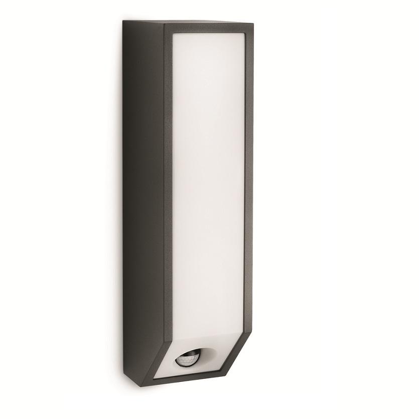 kastige au en wandleuchte mit bewegungssensor aluminium. Black Bedroom Furniture Sets. Home Design Ideas