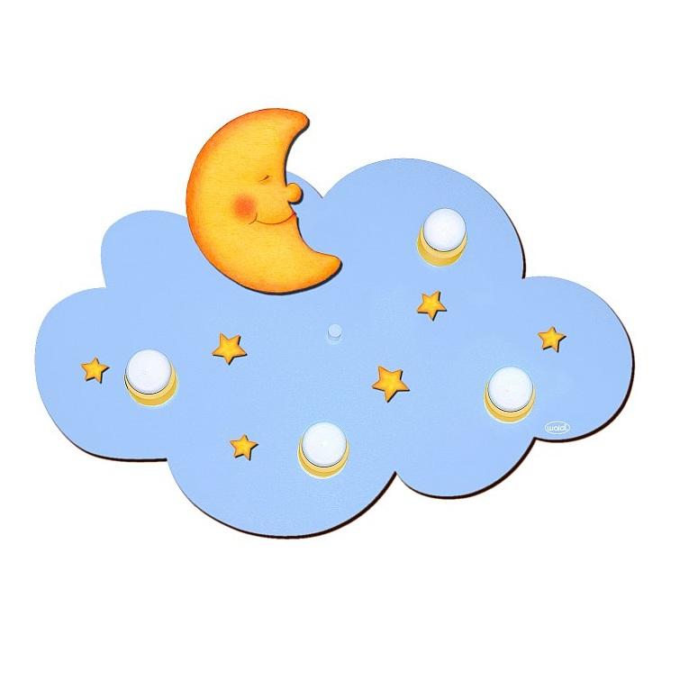kinder deckenlampe mit mond und sternen in wolkenform wohnlicht. Black Bedroom Furniture Sets. Home Design Ideas