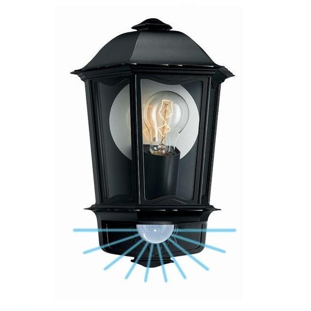 klassiche au en wandleuchte mit bewegungsmelder schwarz wohnlicht. Black Bedroom Furniture Sets. Home Design Ideas