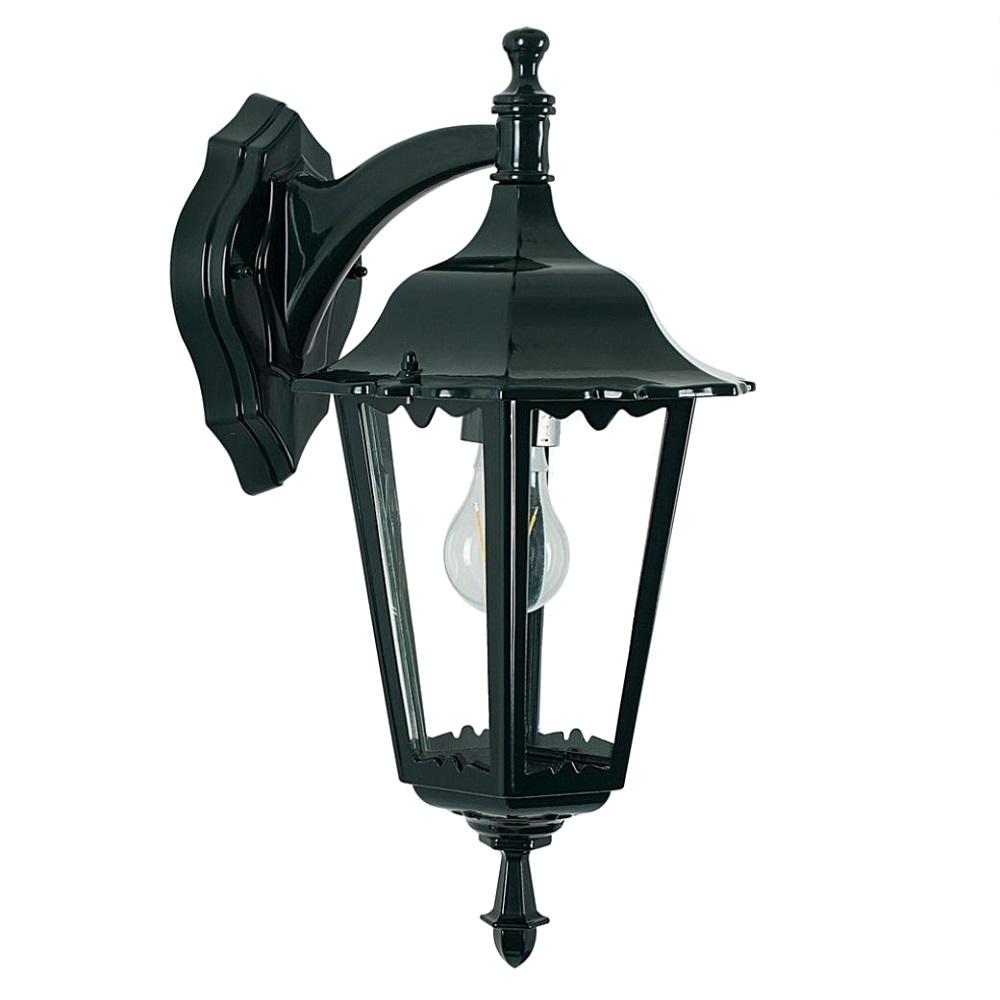 klassische au en wandleuchte mit rauchglas dunkelgr ne lackierung wohnlicht. Black Bedroom Furniture Sets. Home Design Ideas