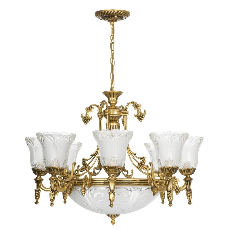 klassische pendelleuchte aus metall in messing antik glas mit klarstruktur 9 flammig wohnlicht. Black Bedroom Furniture Sets. Home Design Ideas