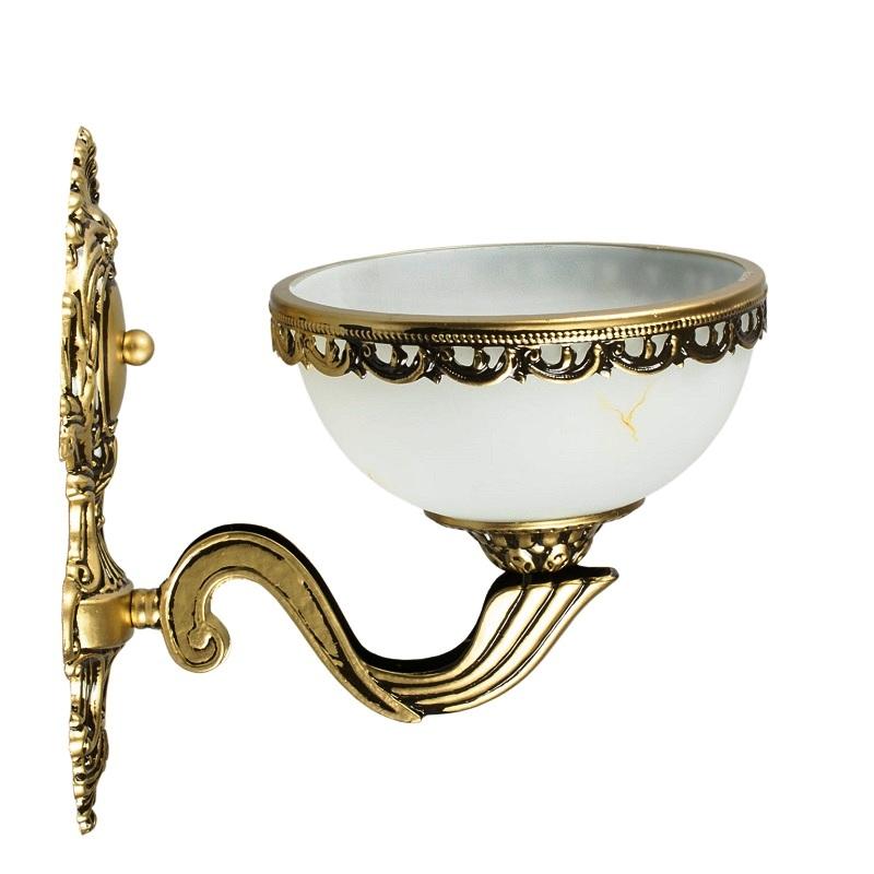 klassische wandleuchte aus metall in messing antik und glas mit marmoreffekt wohnlicht. Black Bedroom Furniture Sets. Home Design Ideas