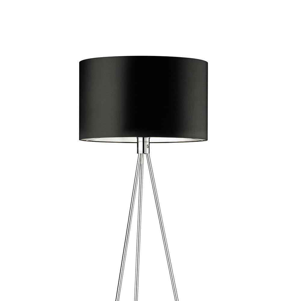 knapstein stehleuchte chrom mit schwarzem stoffschirm wohnlicht. Black Bedroom Furniture Sets. Home Design Ideas