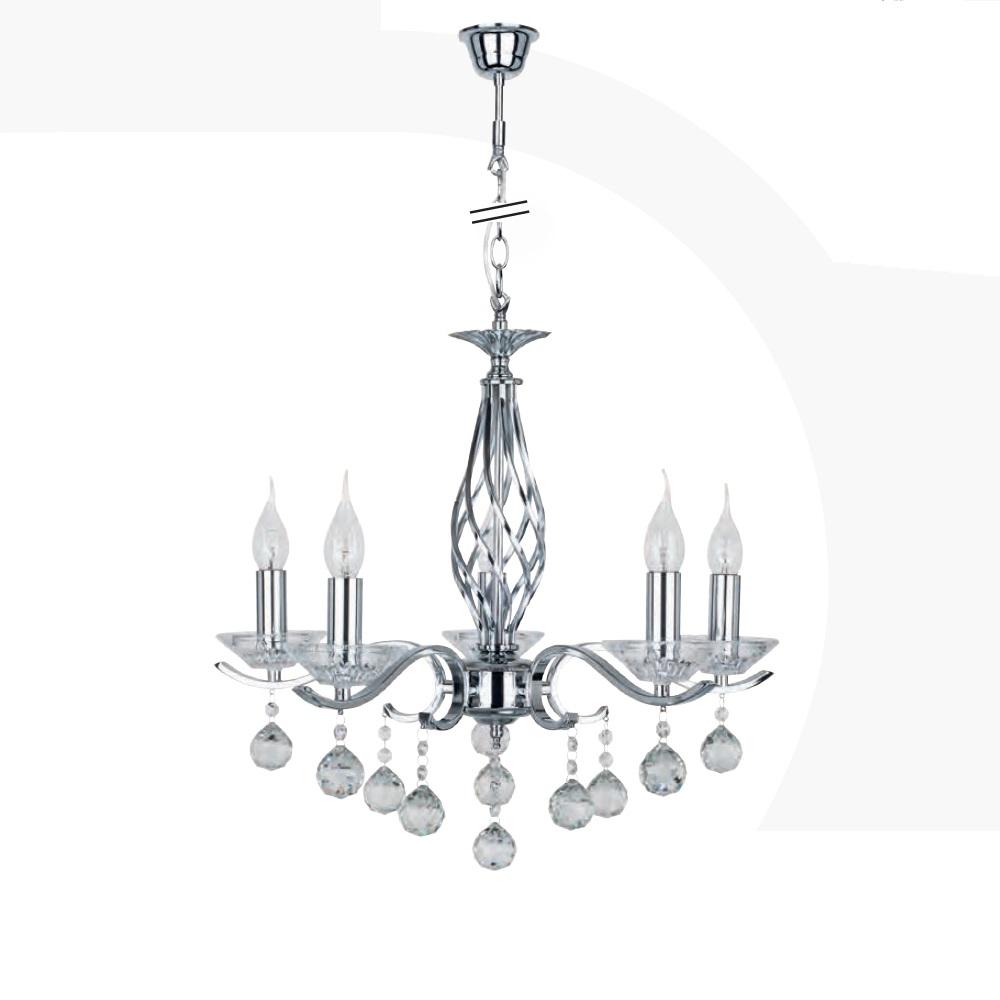 kristall kronleuchter nostra 5 flammig 5x 40 watt 56 00 cm wohnlicht. Black Bedroom Furniture Sets. Home Design Ideas