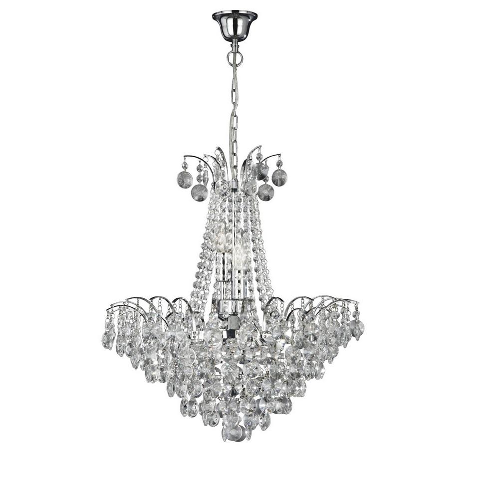 kristall pendelleuchte limoges aus chrom 6 flammig wohnlicht. Black Bedroom Furniture Sets. Home Design Ideas
