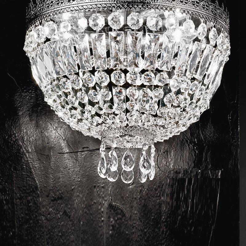 kristall deckenleuchte in nickel gl nzend 40cm wohnlicht. Black Bedroom Furniture Sets. Home Design Ideas