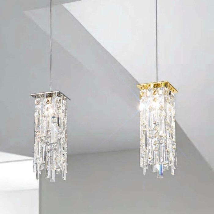 kristall pendelleuchte prisma stretta von kolarz 12x 12cm wohnlicht. Black Bedroom Furniture Sets. Home Design Ideas