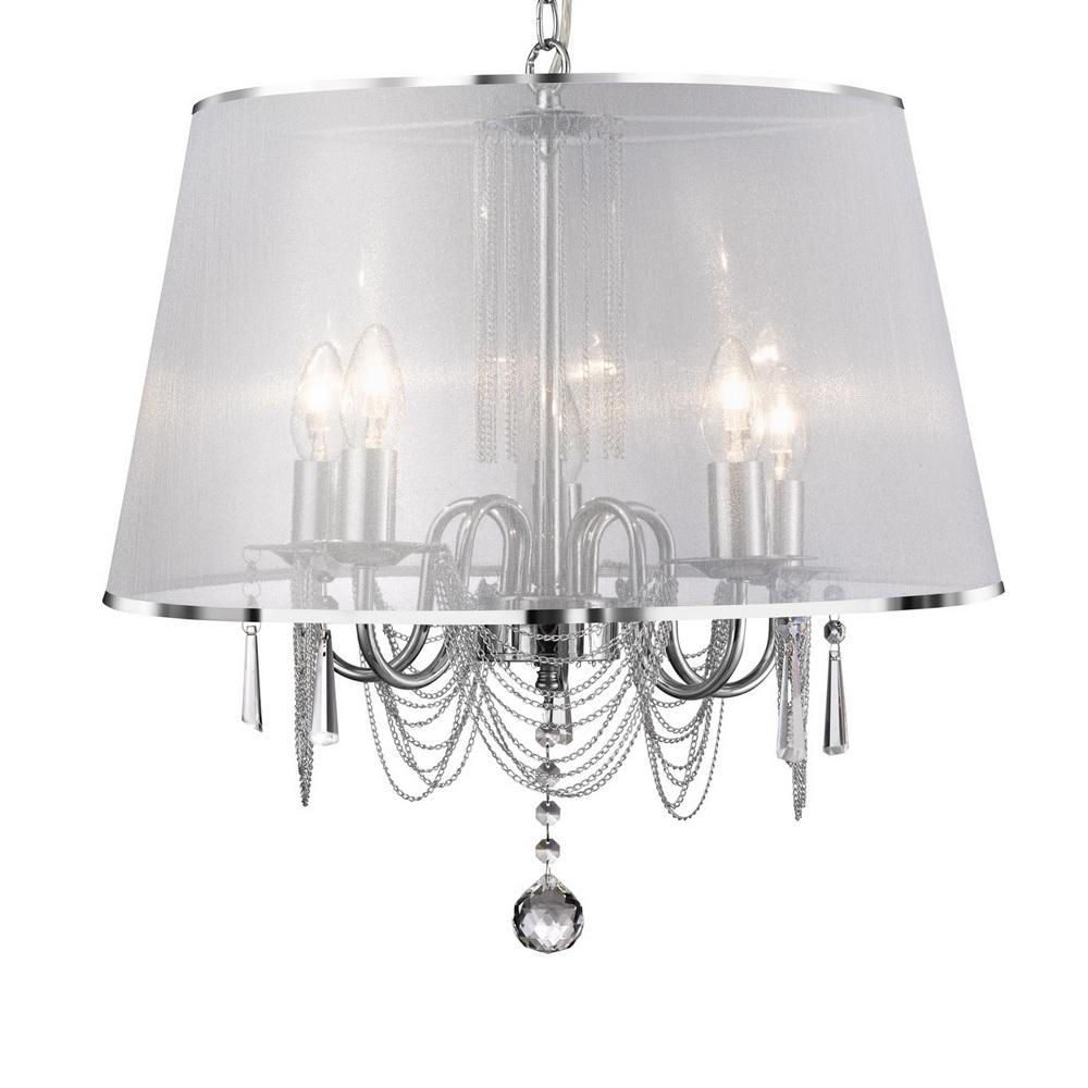 Kronleuchter 5 flg chrom mit lichtdurchl ssigem lampenschirm wohnlicht - Kronleuchter mit lampenschirm ...