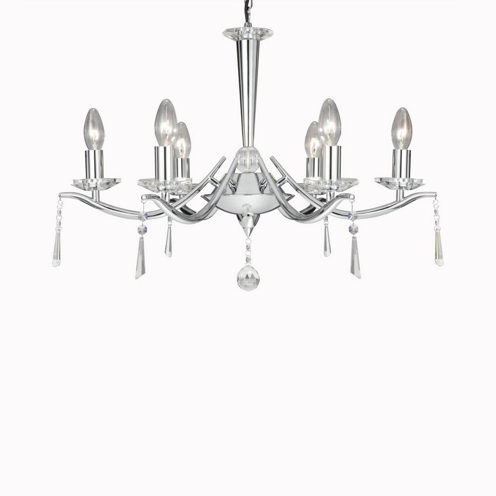 kronleuchter aus chrom mit kristallschmuck wohnlicht. Black Bedroom Furniture Sets. Home Design Ideas