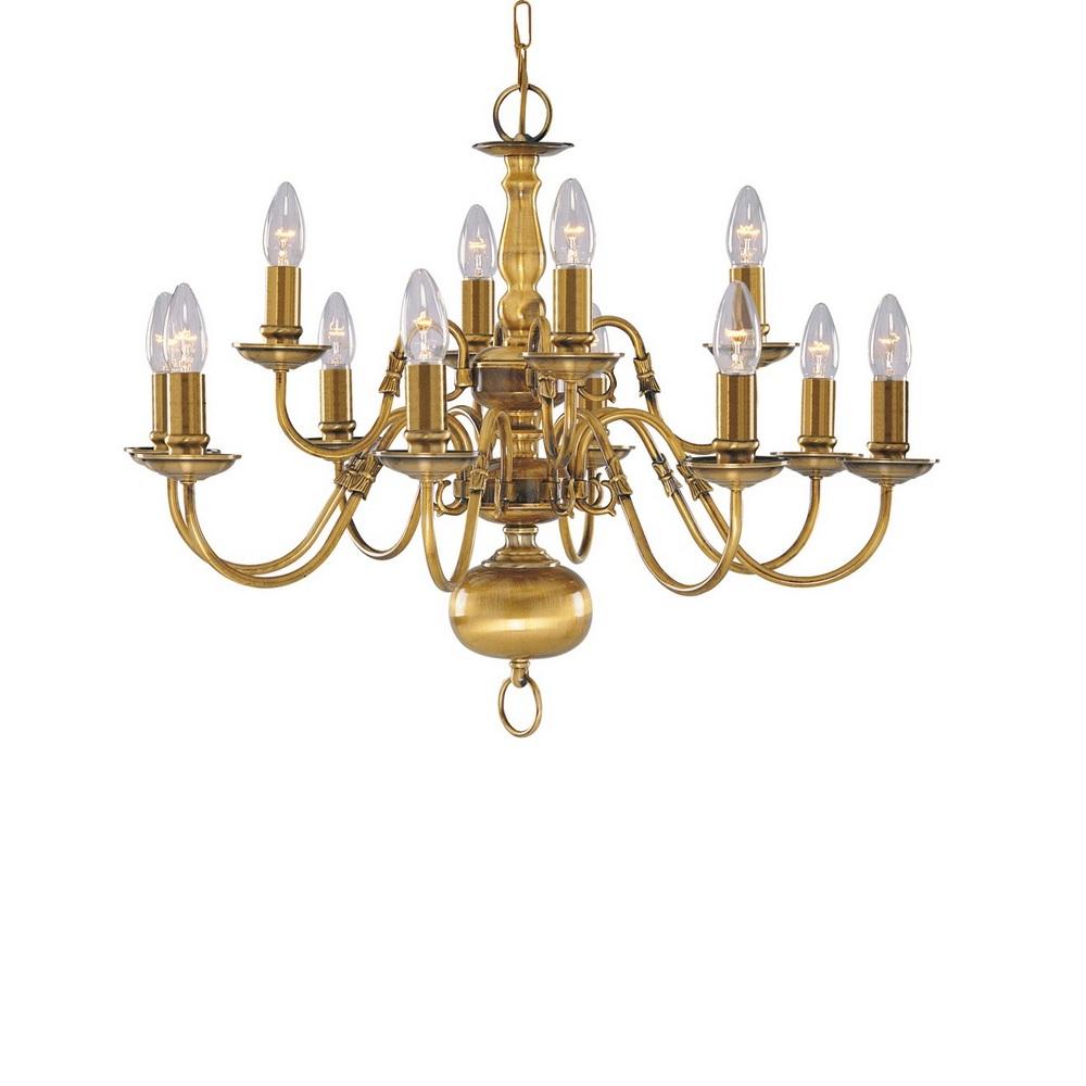 kronleuchter flemish 12 flammig in messing antik wohnlicht. Black Bedroom Furniture Sets. Home Design Ideas