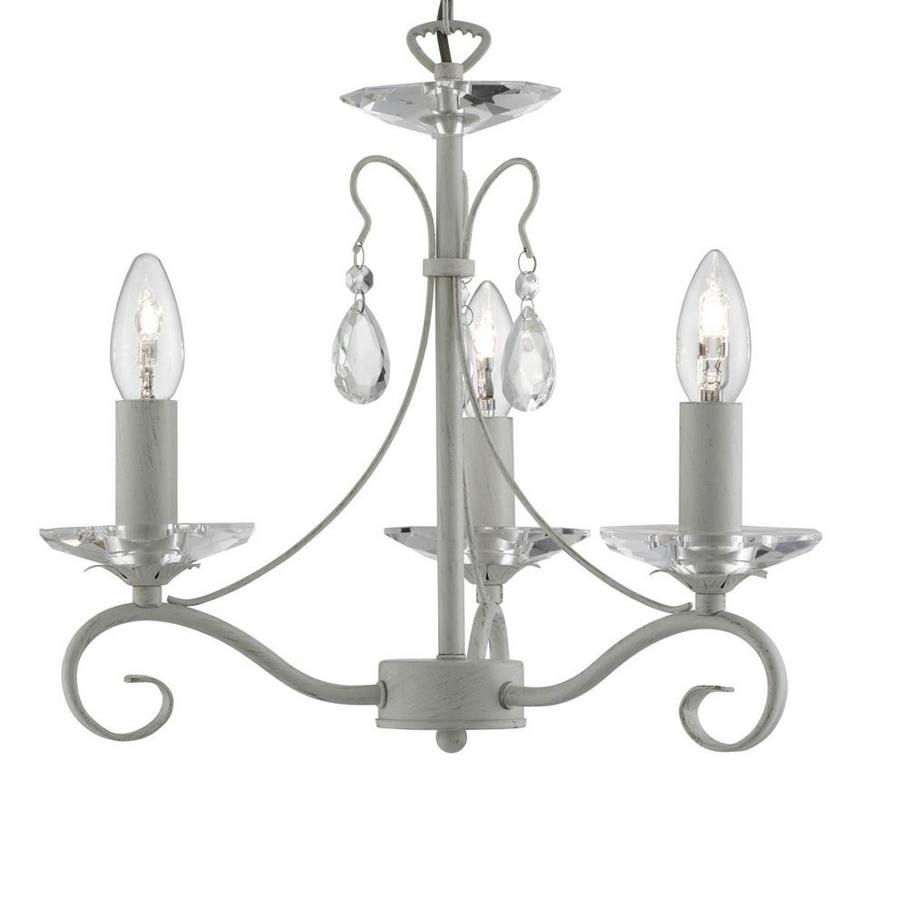 kronleuchter mit glaskristallen in creme gold 3 flammig. Black Bedroom Furniture Sets. Home Design Ideas