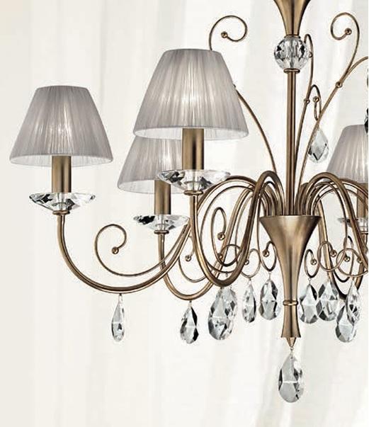 kronleuchter mit stofflampenschirmen silber antik organzaschirme in grau grau silber wohnlicht. Black Bedroom Furniture Sets. Home Design Ideas