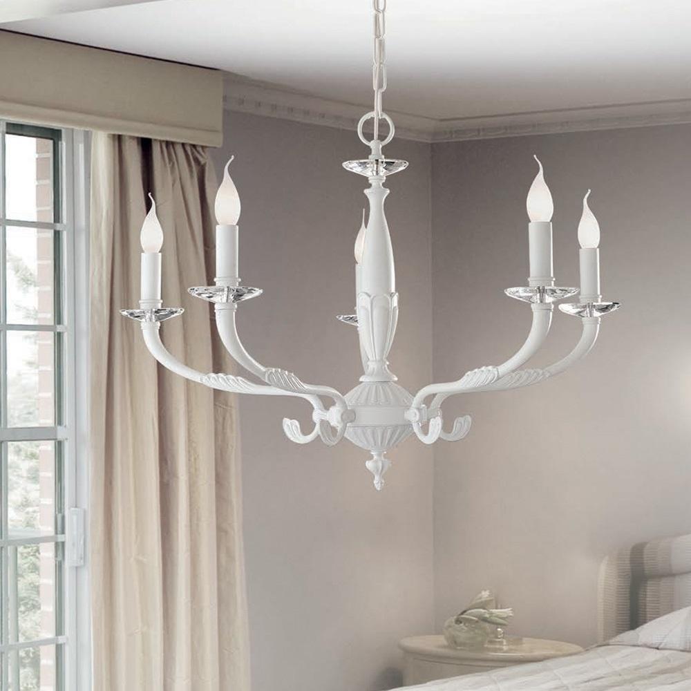 kronleuchter in wei mit kristallglas tellern 3 gr en wohnlicht. Black Bedroom Furniture Sets. Home Design Ideas