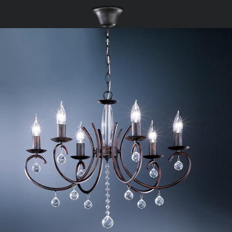 Kronleuchter 6 flammig rostfarbig antik mit klarem glasbehang wohnlicht - Kristallleuchter modern ...