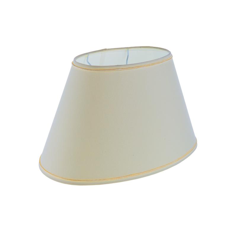 lampenschirm aus stoff in creme mit goldborte ovale form. Black Bedroom Furniture Sets. Home Design Ideas