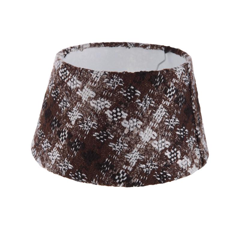 lampenschirm aus stoff kariert in braun und wei rund 25cm aufnahme e27 unten wohnlicht. Black Bedroom Furniture Sets. Home Design Ideas