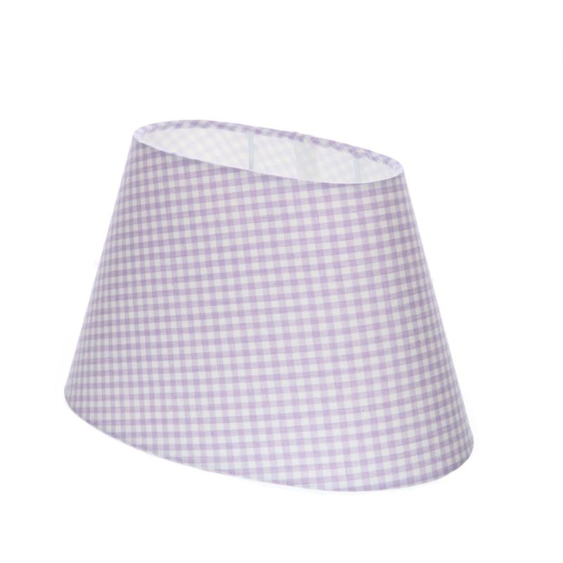 lampenschirm aus stoff mit karomuster in lila und wei ovale form aufnahme e27 unten wohnlicht. Black Bedroom Furniture Sets. Home Design Ideas